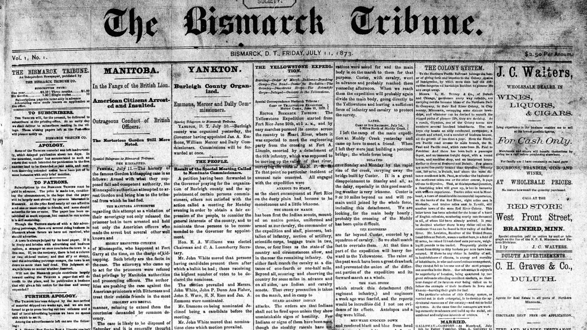 1st edition of The Bismarck Tribune, July 11, 1873