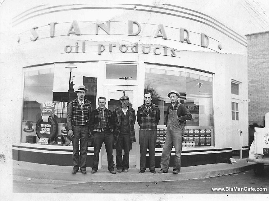 Lovin brothers in front of Standard Oil Station