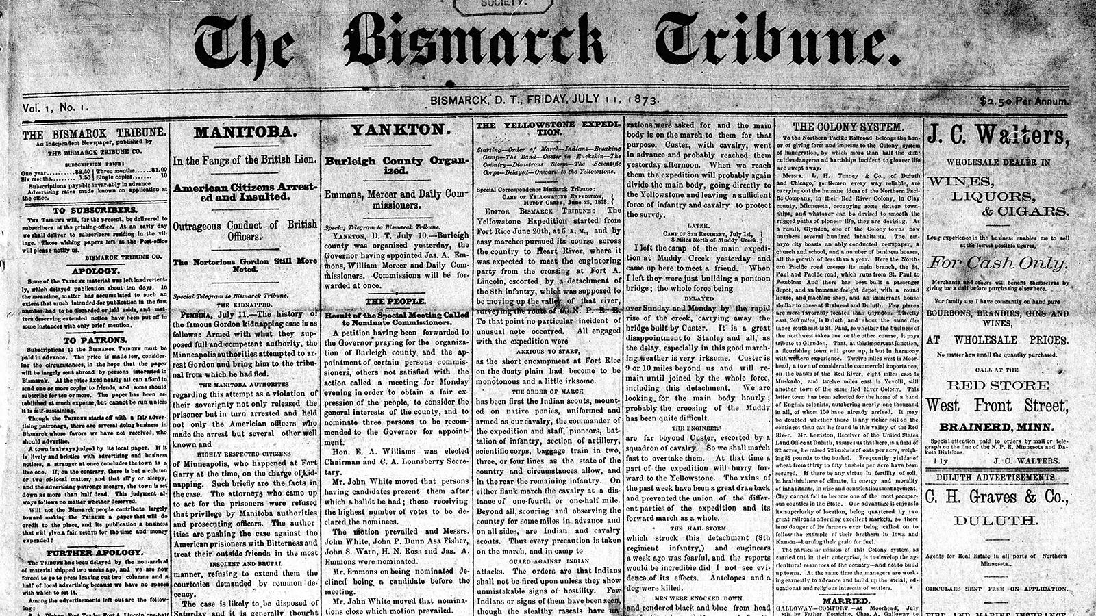 1st edition of The Bismarck Tribune, July 11, 1873