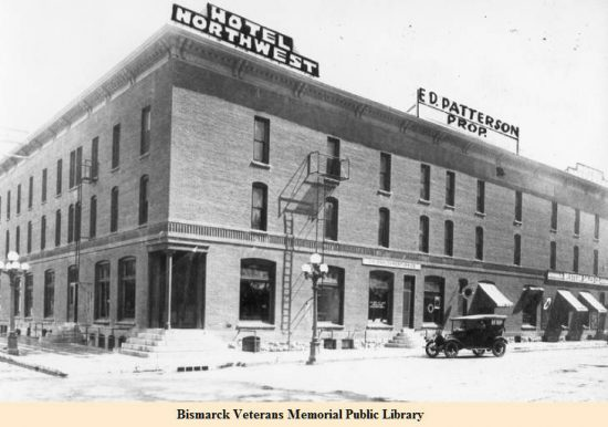 Northwest Hotel in the early 1920s (Bismarck: Capital City Memories: 1d-127)