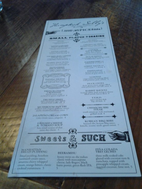 Humpback Sally's Menu