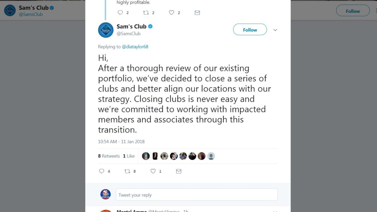 A Sam's Club Tweet regarding closures